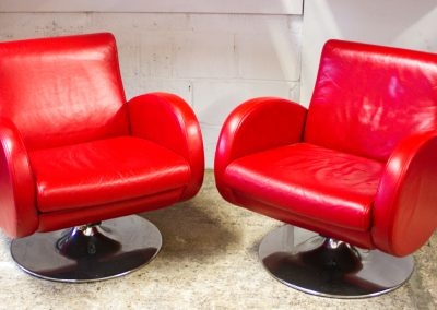Pair of Red Leather Chairs